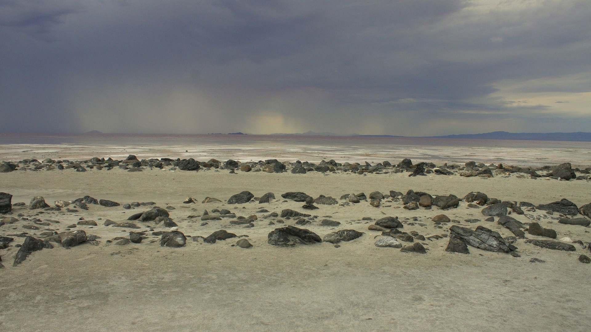 Land art in het Great Salt Lake in de staat Utah.