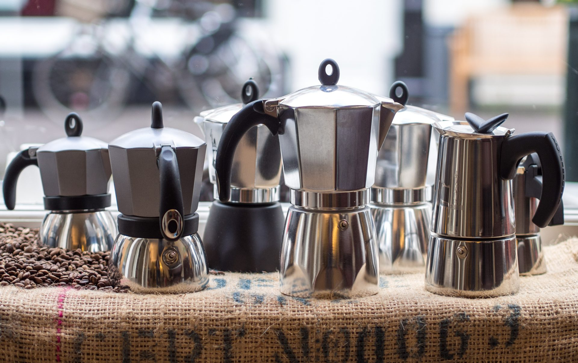 A selection of Bialetti moka pots at Koffiebranderij BOON in The Hague.